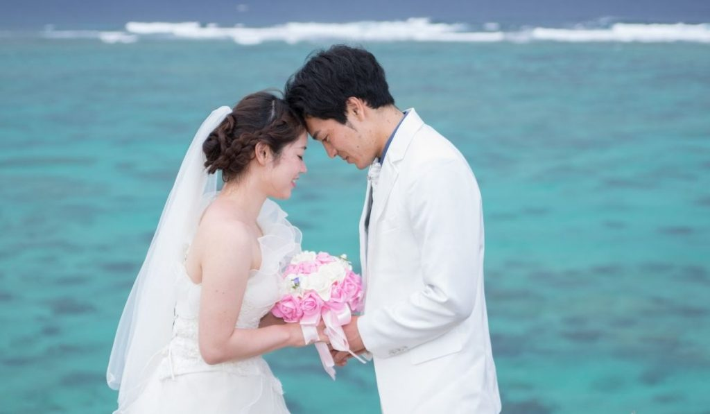 Couple and wedding at the beach