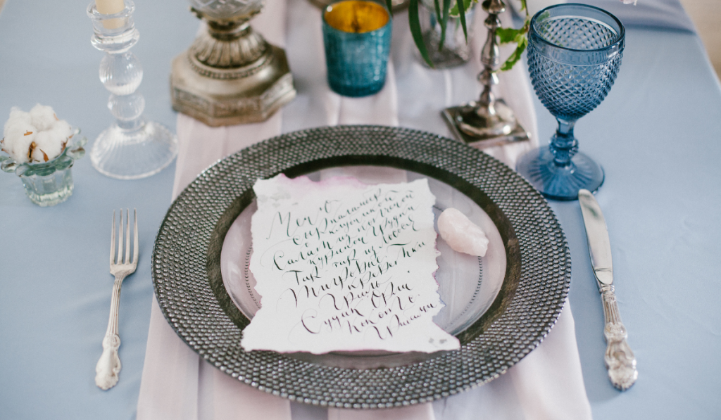 A calligraphed letter on the table