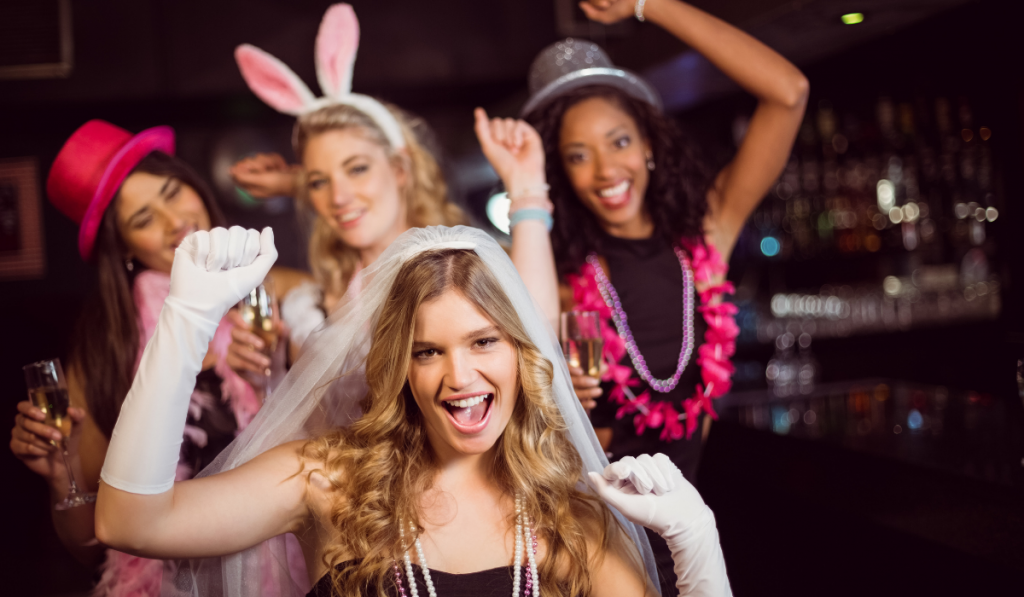 Bride to be partying with her friends in the bar