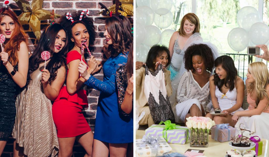 Girls partying in the left picture and girls gift giving in the right picture.