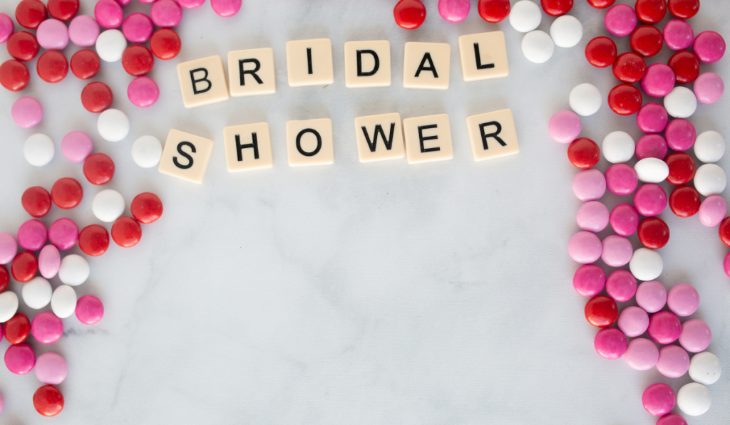 Bridal shower in scrabble letters with pink candies.
