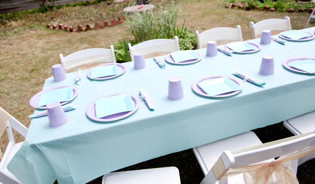 Venue set-up at the garden with lavender and blue motif.